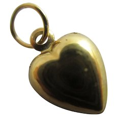 Heart Pendant Charm 9k Gold Vintage c1970.