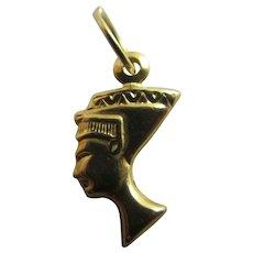 Egyptian Queen Nefertiti Bust 9k Gold Pendant Charm Vintage c1970.