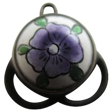 Think Of Me Pansy Flower Enamel Sterling Silver Pendant Charm Antique Victorian c1890.