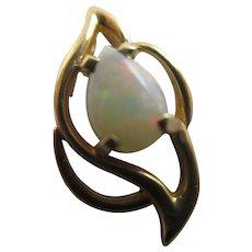 Fiery Opal 14k Gold Pendant Vintage c1980.