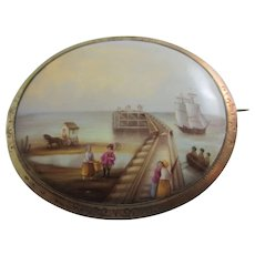 Sea Scene Pier Boats Cockle Pickers Porcelain in 9k Gold Cased Brooch Pin Antique Victorian c1860.