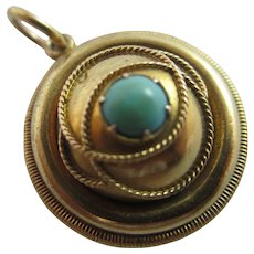 Etruscan Turquoise 15k Gold Locket Pendant Antique Victorian c1860.