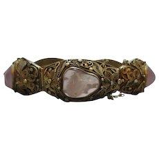 Chinese Silver Gilt Rose Quartz Bracelet Antique C1920