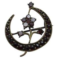 Gilt Metal Bohemian Garnet Flower Brooch Antique C1900