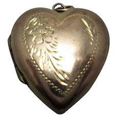 9ct Rose Gold Front & Back Heart Locket Antique Edwardian