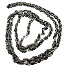 Sterling Silver 925 Victorian Style Longuard Chain Vintage