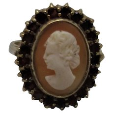 9ct Gold Shell Cameo Ring With Garnet Vintage 1966