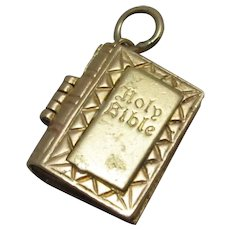 9ct Gold Opening Holy Bible Charm Vintage C.1980