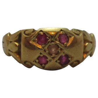 18ct Gold Ruby & Pearl Ring Antique Chester 1904