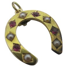 Red Spinel & Seed Pearl 15k Gold Lucky Horseshoe Pendant Antique Victorian c1890.