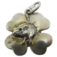 Boar in Lucky Shamrock Silver Pendant Charm Vintage Art Deco c1920.