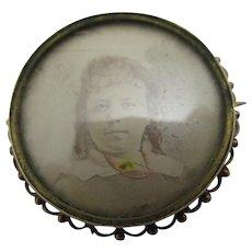 Mourning Hair Locket Brooch Pin 9k Gold Antique Victorian c1890.
