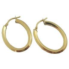 18k Gold Sleeper Hoop Earrings Vintage c1980.