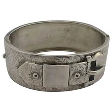 Buckle Bangle Bracelet Sterling Silver Antique Victorian English 1882.