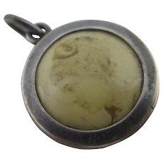 Rock Crystal Lens Sterling Silver Pendant Locket Antique Victorian c1880.