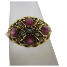 Diamond Ruby Spinel 18k Gold Ring Antique Edwardian Chester 1912.