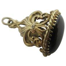 Black Onyx & Diamond 9k Gold Pendant Fob Charm Vintage English.