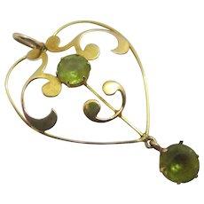 Peridot Paste 9k Gold Dangling Pendant Lavalier Antique Victorian c1890.