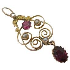 Almondine Garnet & Seed Pearl 9k Gold Dangling Pendant Lavalier Antique Victorian c1890.