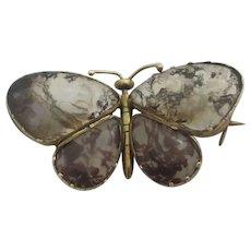 Moss Agate 9k Gold Butterfly Brooch Pin Antique Georgian c1820.
