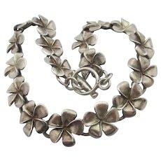 Flower Chain Sterling Silver Bracelet Vintage c1970.