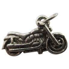 Motor Bike Cycle Pendant Charm Sterling Silver Vintage c1970.