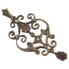 Amethyst Seed Pearl Dangling Pendant Lavalier Vintage Victorian Style.