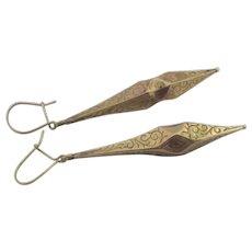 9k Gold Dangling Ear Pendant Earrings Antique Victorian c1860.