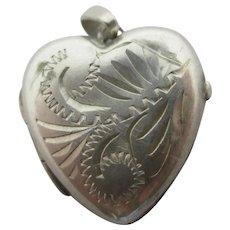 Heart Sterling Silver Double Pendant Locket Vintage c1970.
