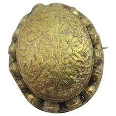 Oak Acorn & Forget Me Not Flowers 9k Gold Double Locket Pendant Brooch Pin Antique Victorian c1880.
