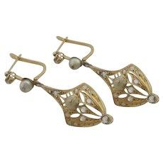 Diamond Seed Pearl 15k Gold Dangling Pendant Earrings Antique Victorian c1890.