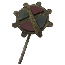 Agate Sterling Silver Stick Pin Brooch Antique Victorian c1880.