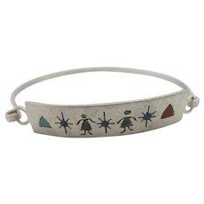 Inlaid Stone Sterling Silver Bangle Bracelet Vintage c1970.