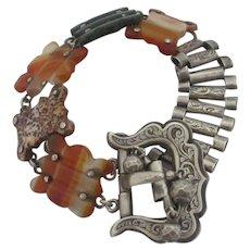 Agate & Sterling Silver Buckle Bracelet Antique Victorian 1856.