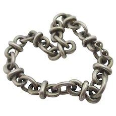 Chain Link Bracelet 800 Grade Silver Vintage Art Deco c1920.