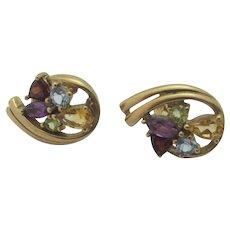 Amethyst Garnet Tourmaline Citrine 9k Gold Earrings Vintage English.