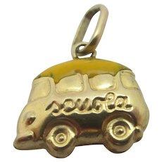 Italian Scoula School Bus Enamel 9k Gold Pendant Charm Vintage c1970.