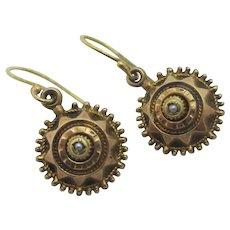 Seed Pearl 10k Gold Dangling Ear Pendant Earrings Antique Victorian c1860.