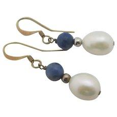 Lapis Lazuli Pearl 9k Gold Dangling Pendant Earrings Vintage c1980.
