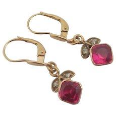Ruby & Diamond 14k Gold Dangling Ear Pendant Earrings Vintage Art Deco c1920.