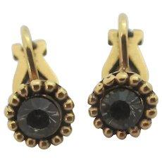 Faux Diamond 9k Gold Earrings Vintage Art Deco c1920.