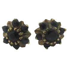 Sapphire Flower 9k Gold Stud Earrings Vintage English c1980.
