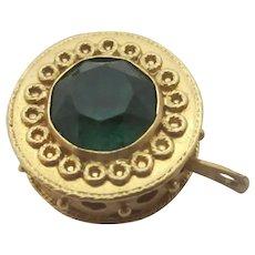 Amethyst Emerald Paste 18k Gold Pendant Charm Vintage Art Deco c1920.