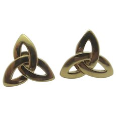 Celtic Triquetra or Trinity Knot 9k Gold Stud Earrings Vintage c1980.