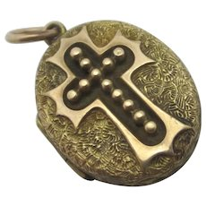Cross Pendant Locket 9k Gold Back & Front Antique Victorian c1880.