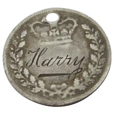 Harry Sweetheart Coin Sterling Silver Pendant Charm Antique Victorian c1860.
