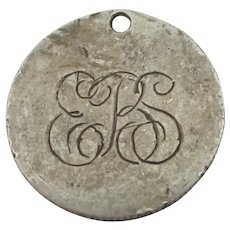 ERS Sweetheart Coin Sterling Silver Pendant Charm Antique Victorian c1860.