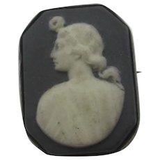Wedgwood Black Basalt Jasperware Sterling Silver Brooch Pin Antique Georgian c1820.