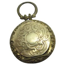 15ct Gold Front Double Pendant Locket Antique Victorian c1840.