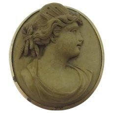 Roman Messenger of the Gods Mercury Lava Cameo 9k Gold Brooch Pin Antique Georgian Grand Tour c1820.